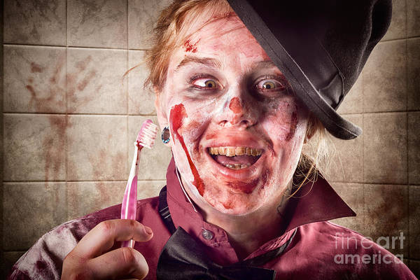 Dentist Poster featuring the photograph Zombie At Dentist Holding Toothbrush. Tooth Decay by Jorgo Photography - Wall Art Gallery