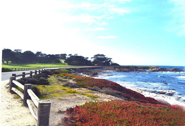 Golf Course Poster featuring the digital art 17 Mile Drive Shore Line II by Barbara Snyder