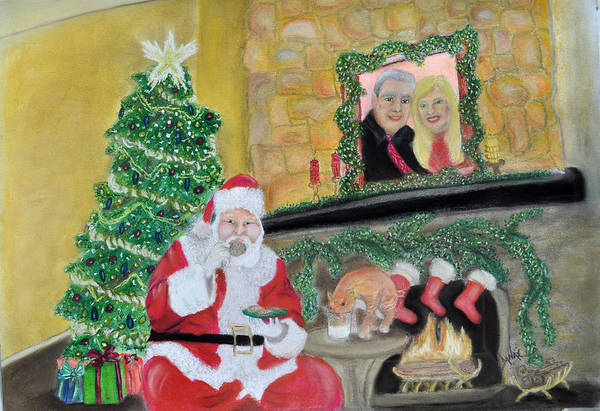 Santa Poster featuring the pastel Christmas Is For Sharing by Danae McKillop
