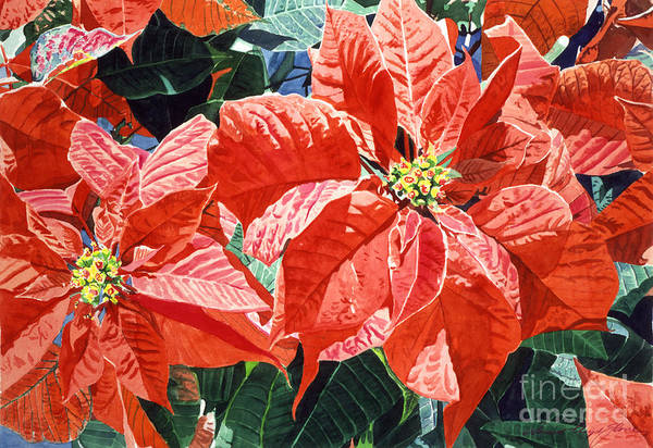 Christmas Poster featuring the painting Christmas Poinsettia Magic by David Lloyd Glover