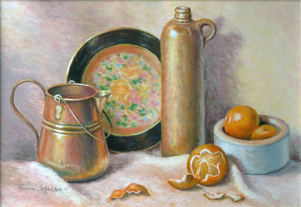 Still Life Poster featuring the pastel Copper Pot With Tangerines by Theresa Shelton
