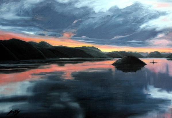 Sunrise Poster featuring the painting Farsund Sunrise by Janet King