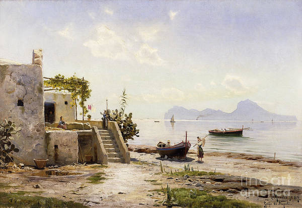 1880s Poster featuring the painting From Sorrento Towards Capri by Peder Monsted