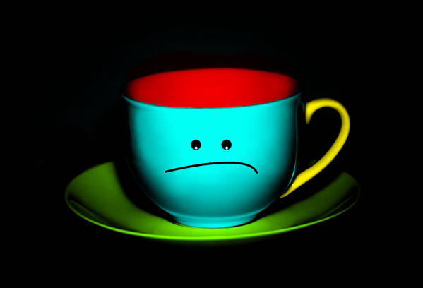 Teacup Poster featuring the photograph Peeved Colorful Cup And Saucer by Natalie Kinnear