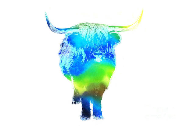 Cow Poster featuring the painting Psychedelic Bovine #2 by Pixel Chimp