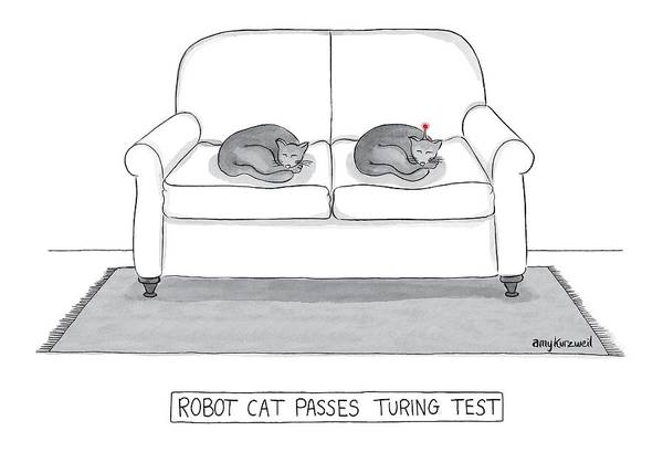 Cat Poster featuring the drawing Robot Cat Passes Turing Test by Amy Kurzweil
