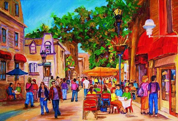 Summer Cafes Montreal Street Scenes Poster featuring the painting Summer Cafes by Carole Spandau