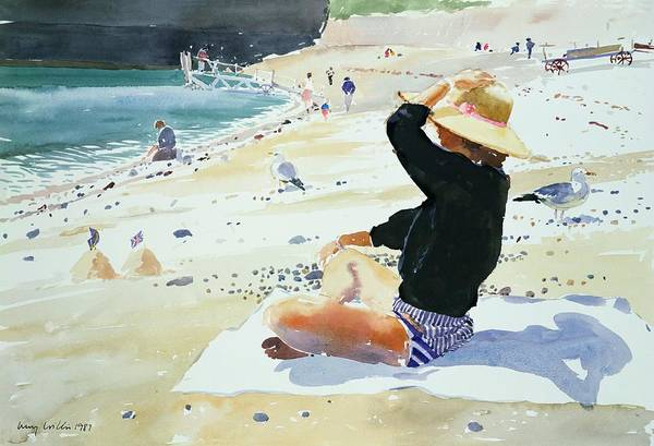 Beach; Sunhat; Seagull; Jetty; Coast; Sandcastle; Flag; Suntan; Tanning; Sea; Towel; Sand; Castle; Holiday; Boat; Launch; Bikini; Seashore; Shadow; Sun; Pebbles; Summer; Sat Poster featuring the painting Black Jumper by Lucy Willis