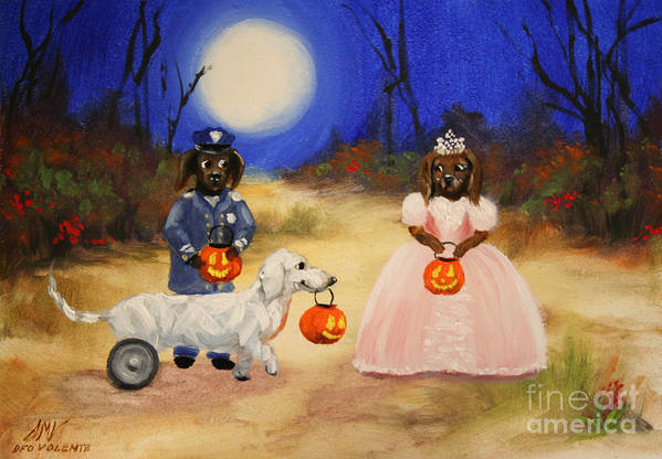 Dachshund Poster featuring the painting Happy Halloweenies Mummy Policeman And Princess by Stella Violano