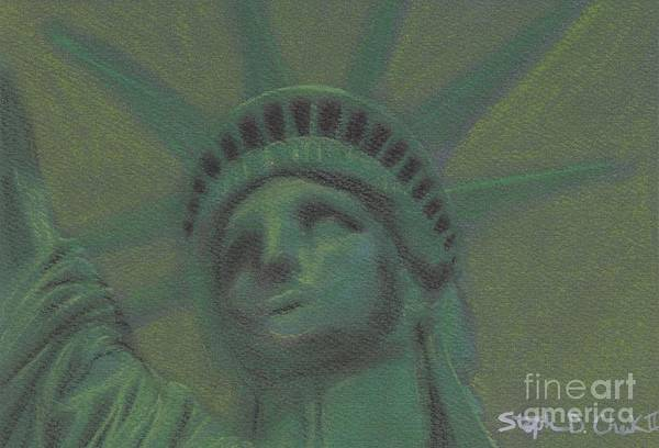 Statue Of Liberty Poster featuring the pastel Liberty In Green by Stephen Cheek II