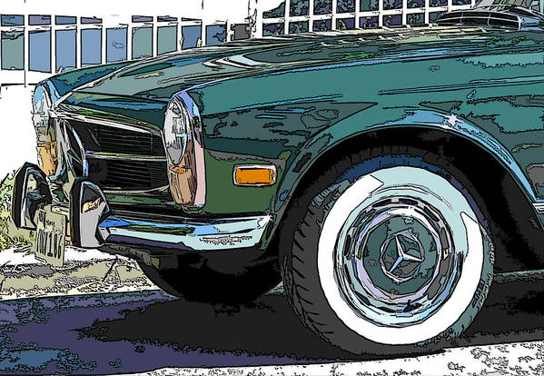 Mercedes Benz Poster featuring the photograph Mercedes Benz 280sl Roadster 2 by Samuel Sheats