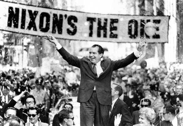 History Poster featuring the photograph Richard Nixon, Delivering His The V by Everett