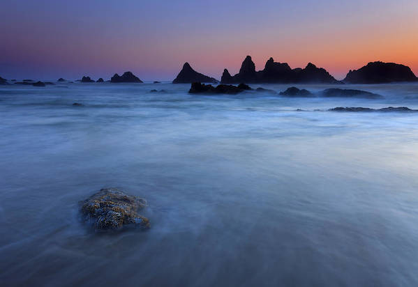 Seal Rock Poster featuring the photograph Seal Rock Dusk by Mike Dawson