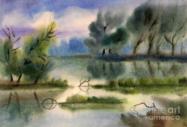 Art Poster featuring the painting Water View Landscape by Cristina Movileanu