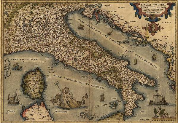 History Poster featuring the photograph 1570 Map Of Italy From Abraham by Everett