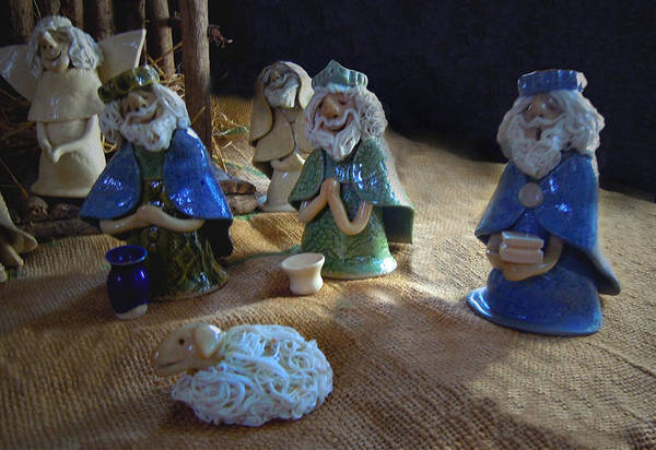 Nativity Poster featuring the ceramic art Creche Kings by Nancy Griswold