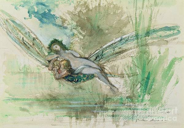 Dragonfly Poster featuring the painting Dragonfly by Gustave Moreau