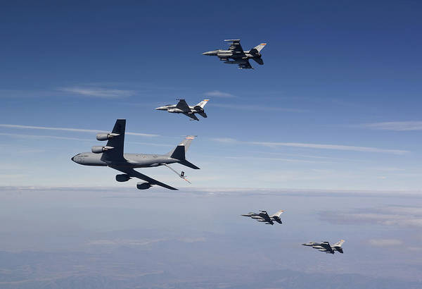 No People Poster featuring the photograph Four F-16s And A Kc-135 Fly by HIGH-G Productions