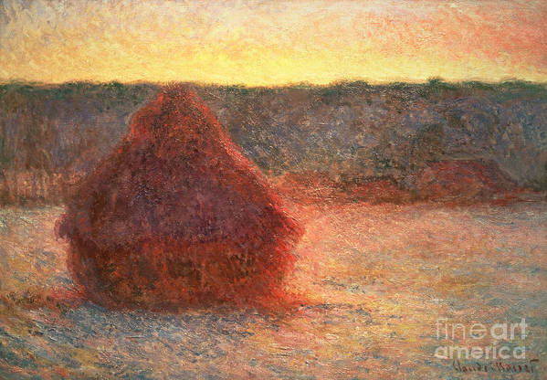 Haystacks At Sunset Poster featuring the painting Haystacks At Sunset by Claude Monet