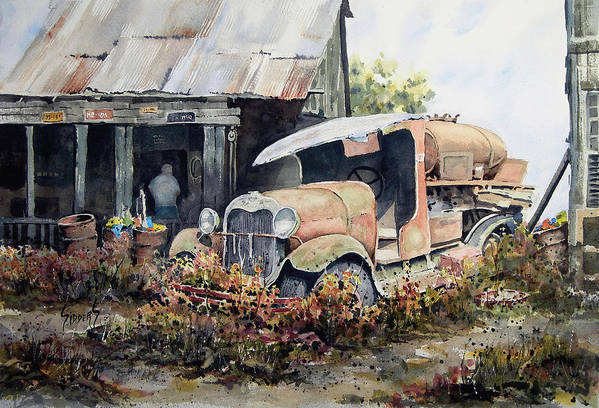 Truck Poster featuring the painting Jeromes Tank Truck by Sam Sidders