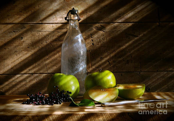 Apple Poster featuring the photograph Old Bottle With Green Apples by Sandra Cunningham