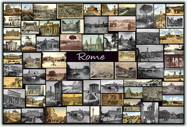 Rome Poster featuring the photograph Old Rome Collage by Janos Kovac