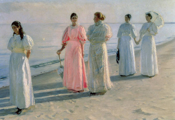 Promenade Poster featuring the painting Promenade On The Beach by Michael Peter Ancher