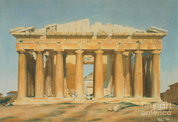 The Poster featuring the painting The Parthenon by Louis Dupre