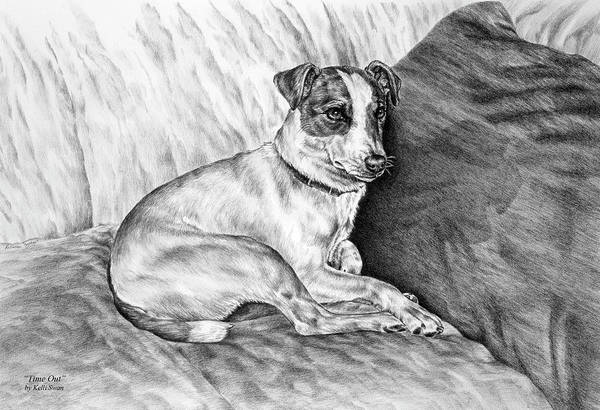 Jack Russell Poster featuring the drawing Time Out - Jack Russell Dog Print by Kelli Swan
