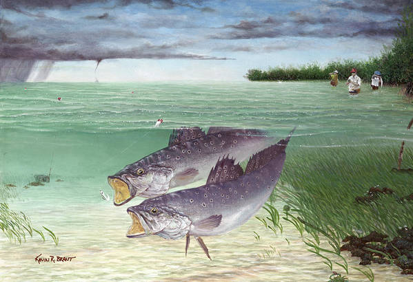 Speckled Trout Poster featuring the painting Wade Fishing For Speckled Trout by Kevin Brant