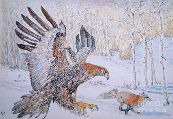 Winter Chase Poster featuring the drawing Winter Chase by Yvonne Johnstone