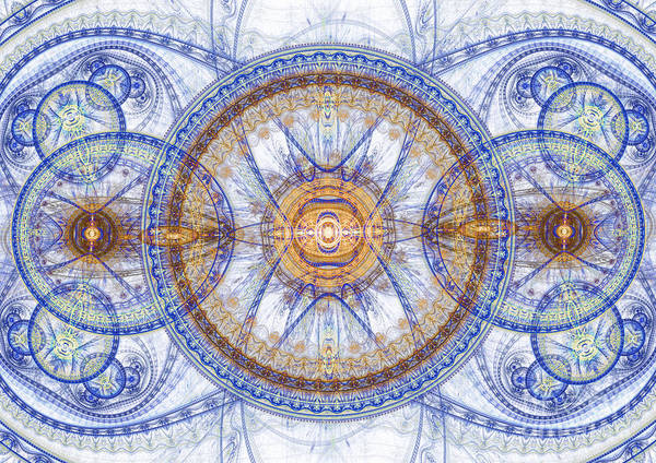Abstract Poster featuring the digital art Blue Fractal Inception by Martin Capek