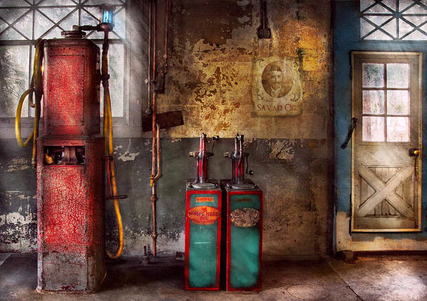 Savad Poster featuring the photograph Car - Station - Gas Pumps by Mike Savad