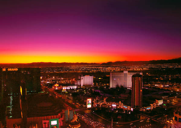 Savad Poster featuring the photograph City - Vegas - Ny - Sunrise Over The City by Mike Savad