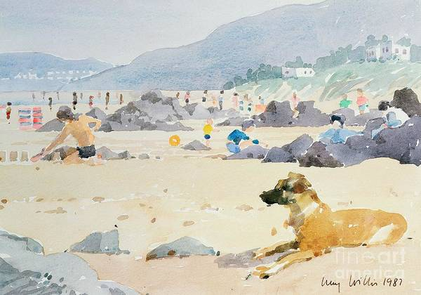 Sandcastle; Coast; Rocks; Seaside Resort Poster featuring the painting Dog On The Beach Woolacombe by Lucy Willis