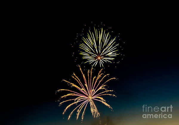 Fireworks Poster featuring the photograph Double Fireworks Blast by Robert Bales