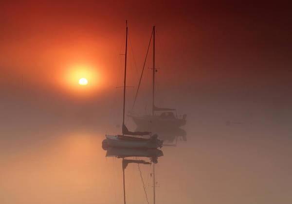 Maine Sailboat Sunrise Fog Castine Poster featuring the photograph Foggy Harbor Sunrise by Martin Radigan