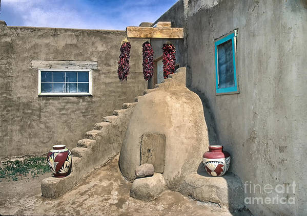 New Mexico Poster featuring the photograph Home On Taos Pueblo by Sandra Bronstein