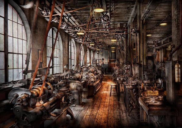 Hdr Poster featuring the photograph Machinist - A Fully Functioning Machine Shop by Mike Savad