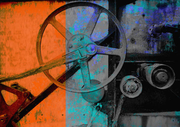 Vintage Machine Poster featuring the photograph Orange And Blue by Ann Powell