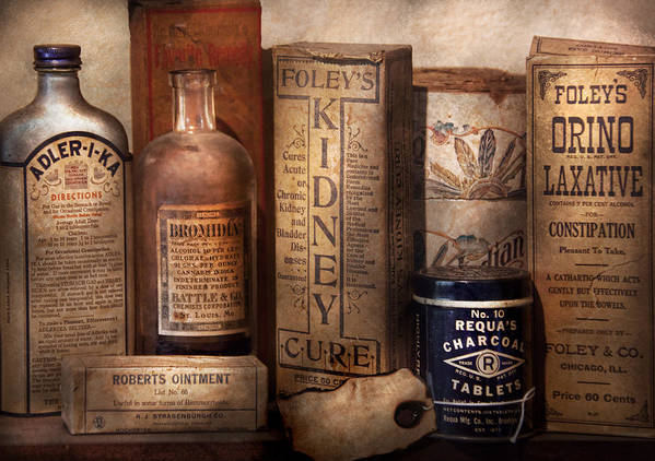 Savad Poster featuring the photograph Pharmacy - Cures For The Bowels by Mike Savad