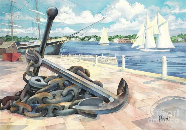 Sailboat Poster featuring the painting Portside Anchor by Paul Brent