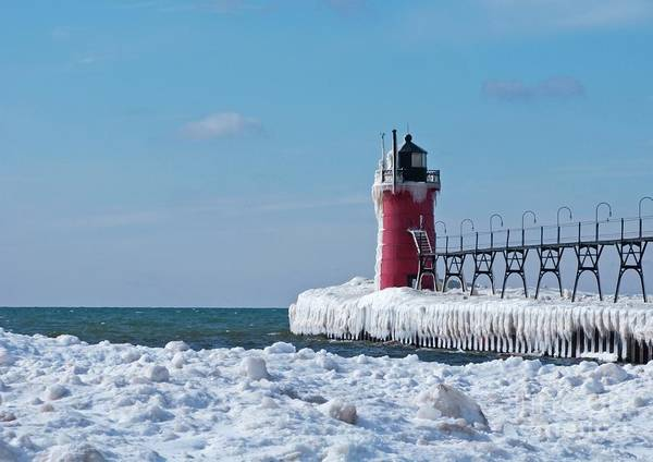 Lighthouse Poster featuring the photograph South Haven Ice by Ann Horn