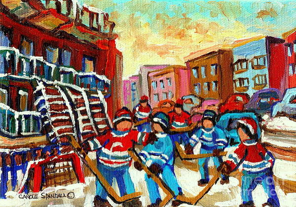 Montreal Poster featuring the painting Whimsical Hockey Art Snow Day In Montreal Winter Urban Landscape City Scene Painting Carole Spandau by Carole Spandau
