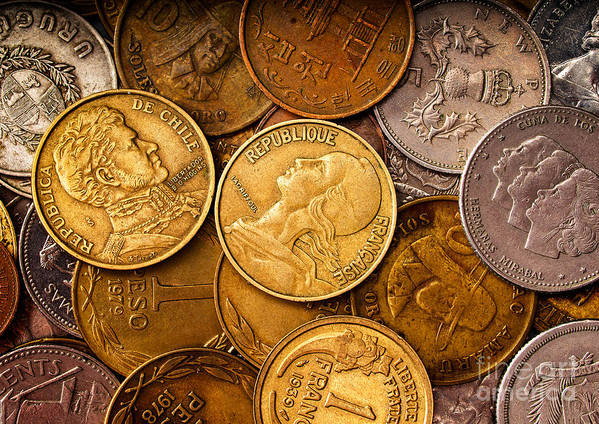 Coins Poster featuring the photograph World Coins by Mark Miller