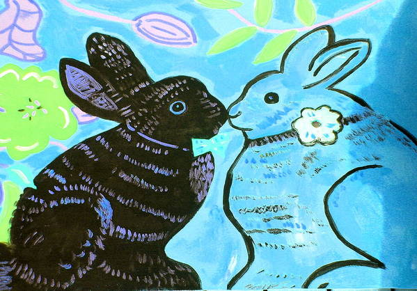Art Poster featuring the painting Bunnies In Love by Patricia Lazar