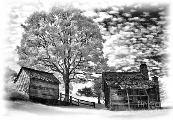 North Carolina Poster featuring the photograph Cabin Under Buttermilk Skies Vignette by Dan Carmichael
