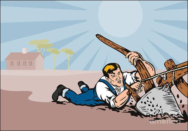 Farmer Poster featuring the digital art Farmer Dragged Plow Plowing Farm Retro by Aloysius Patrimonio