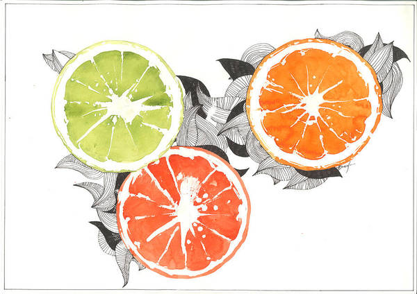 Graphics Poster featuring the painting Orange by Viki Vehnovsky