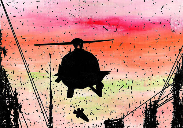 Post Poster featuring the painting Post Apocalyptic Helicopter Skyline by Jera Sky